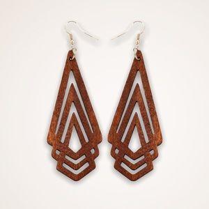 Jewelry - Boho Hippie Wood Earrings Ethnic Geometric Natural